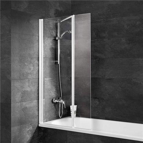 Pare bain reversible Parois baignoire 2 volets Ecran en verre trempé profilé blanc