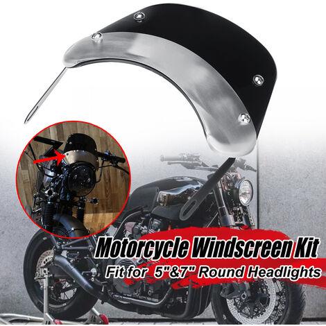 "Pare-brise moto universel avec support FIT 5 & amp;Phares ronds 7 ""pour Yamaha Suzuki Honda"