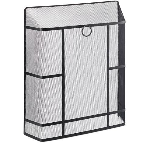 Pare étincelles cheminée, fines mailles, acier, sans trou, protection étincelles, HxlxP 71 x 61 x 17 cm, noir