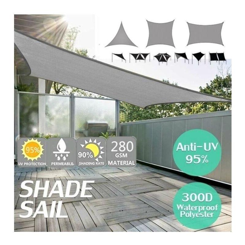 Pare-soleil voile imperméable 420D Oxford polyester auvent de couverture auvent extérieur gris gris Triangle régulier 4x4x4m