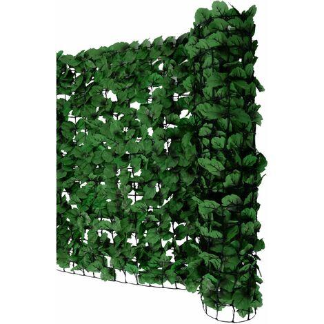 Pare-vue balcon feuilles foncés, abat-vent, enveloppement pour terrasse, clôture ~ 300x150cm