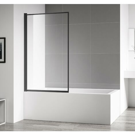 Pared de baño Fes 80x140cm - 4mm con revestimiento nano, pivote, mampara de ducha, perfil negro curvado