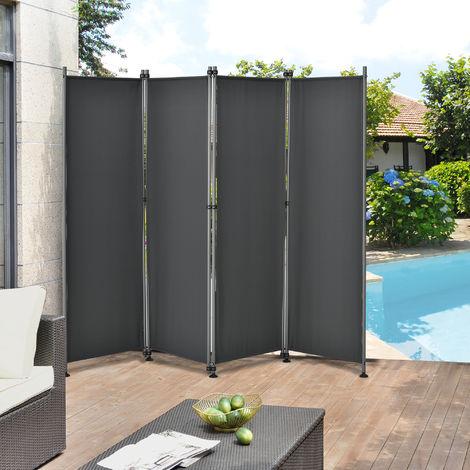 Pared divisoria / Biombo - 215 x 170 cm - Gris - Biombo exterior - Mampara - Toldo - Protector - Separador de espacios