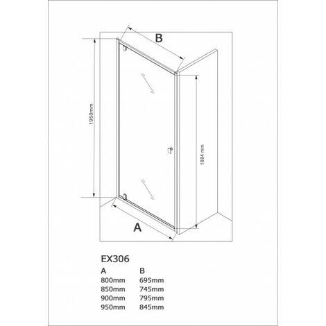 Pared puerta para ducha frontal - cristal auténtico NANO EX306 - cristal transparente - altura 195 cm - medida a elegir:800mm