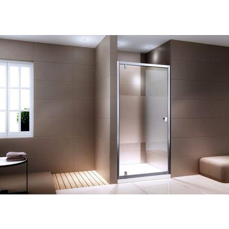 Pared puerta para ducha frontal - cristal auténtico transparente NANO EX306 - satinado parcial - altura 195 cm - medida a elegir:800mm
