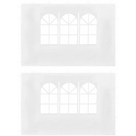 Paredes laterales de carpa de fiesta con ventana blanco 2 uds