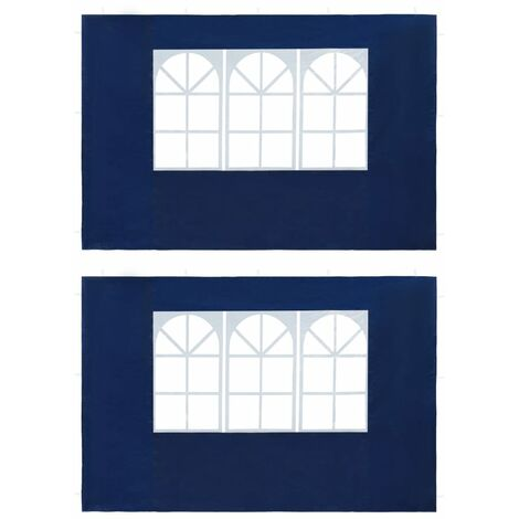 Paredes laterales de carpa de fiesta con ventana PE azul 2 uds
