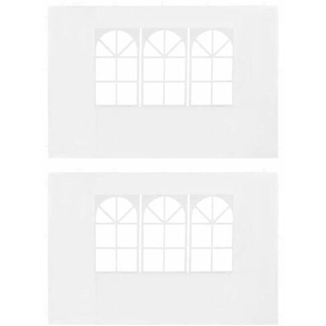 Paredes laterales de carpa de fiesta con ventana PE blanco 2uds