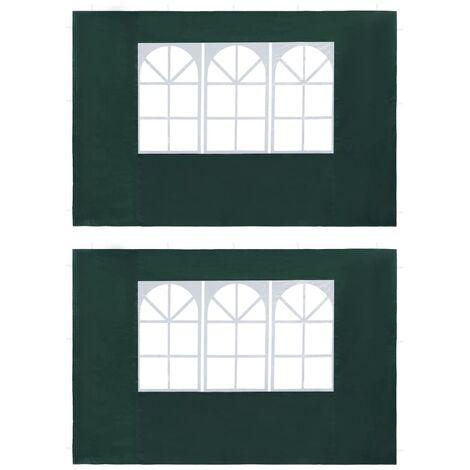 Paredes laterales de carpa de fiesta con ventana PE verde 2 uds