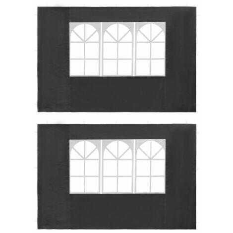 Paredes laterales de carpa de fiesta ventana PE antracita 2 uds