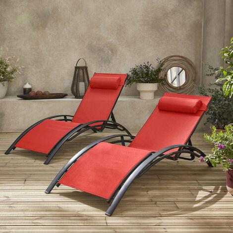 Pareja de 2 tumbonas de aluminio y textileno rojo coral| Louisa x2