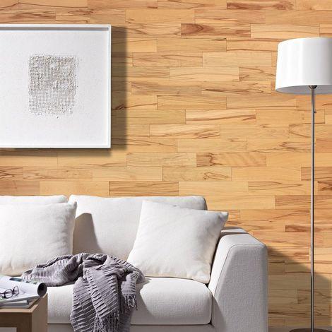 Parement Bois Mural 1m² Woodwall Bois Hêtre Vivant 400mm