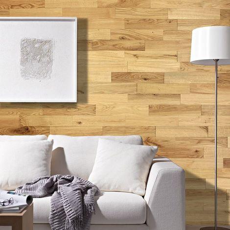 Parement Bois Mural 1m² Woodwall Chêne Rustique Huilé 400mm