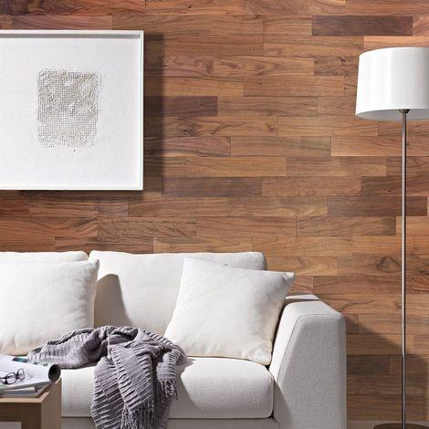 Parement Bois Mural 1m² Woodwall Noyer Huilé 400mm
