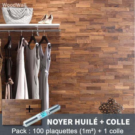 Parement Bois Noyer Huilé + 1 Colle WoodWall