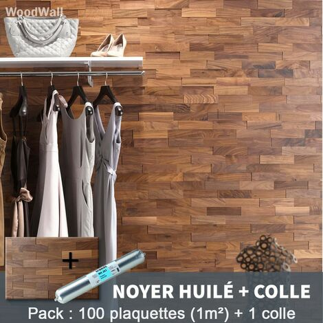 Parement Bois Noyer Huilé 200mm + 1 Colle WoodWall - 1m²