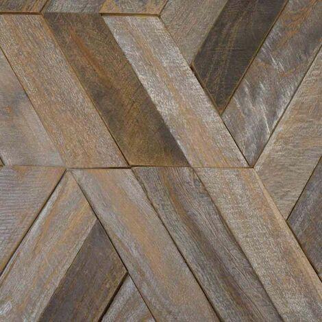 Parement en teck recyclé patiné hexagonal plaque 28x24 cm