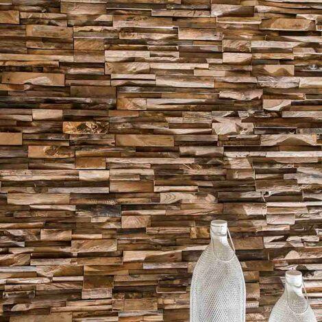 Parement en teck recyclé vieilli 20cm x50cm