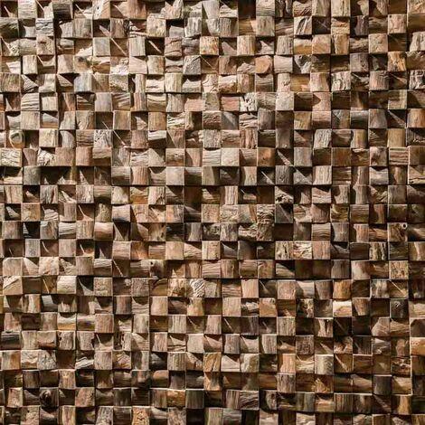 Parement mosaïque en teck recyclé naturel carré 20cm x 55cm