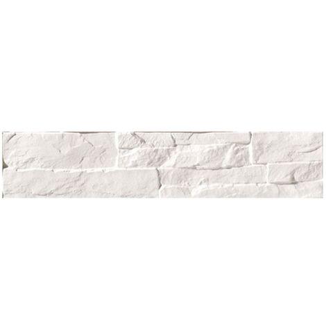 Parement mural blanc imitation pierre 8.1x41.5cm ATALAYA-C BLANCO - 0.50m²