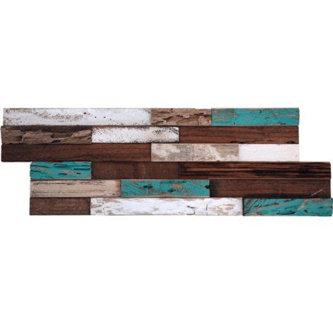 Parement mural en bois de bateau recyclé brun et turquoise - 11 pcs