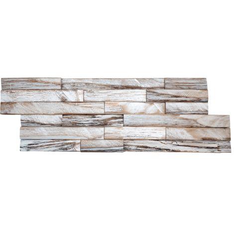 Parement mural en bois de bateau recyclé patiné blanc - 6 pcs