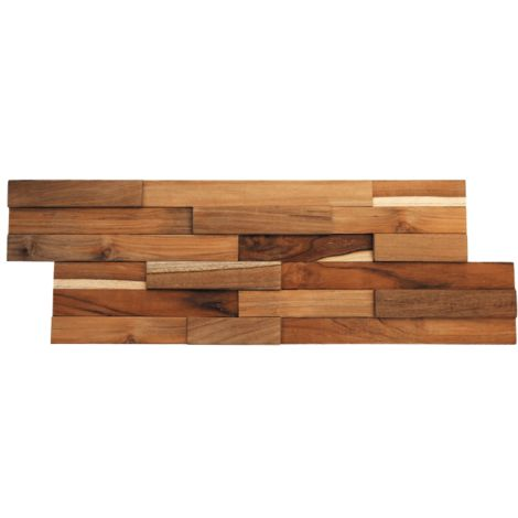 Parement mural en bois teck recyclé bruni - 6 pcs - Marron