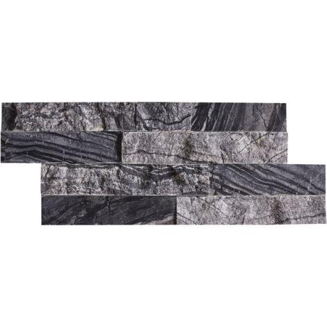 Parement mural en marbre noir - 8 pcs