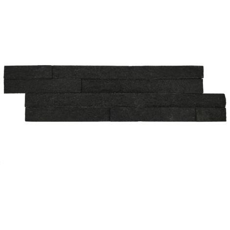 Parement mural en pierre naturelle fine épaisseur - black - 13 pcs - Noir
