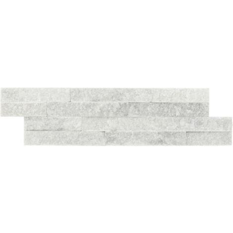 Parement mural en pierre naturelle fine épaisseur - smoke - 13 pcs - Blanc