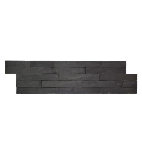 Parement mural en pierre naturelle graphite - 9 pcs - Noir