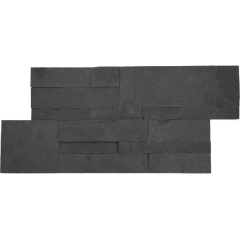 Parement mural quadri en pierre naturelle - noire mate - 7 pcs