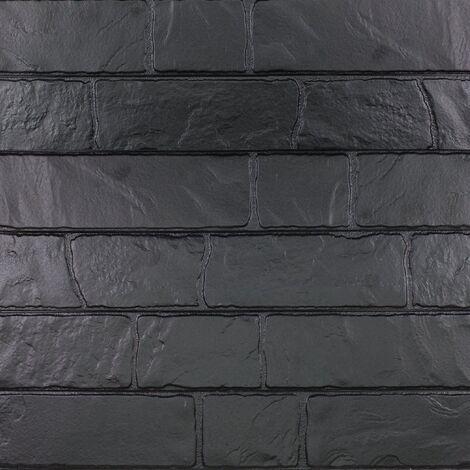 Parement mural réaliste cérame style pierre 9x60 cm MURETTO Noir - 0.76m²