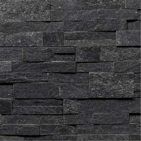 Parement Quartzite Shiny Black ép.2/3cm - vendu par lot de 0.522 m² - Noir