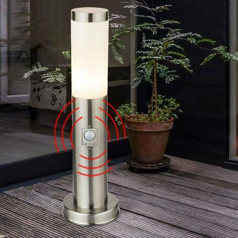 Párese sensor de iluminación inoxidable blanco de la lámpara 1-luz terraza césped Hilight 103109