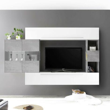 Parete attrezzata Bianco Laccato Lucido e Cemento 270xH.200x35 cm