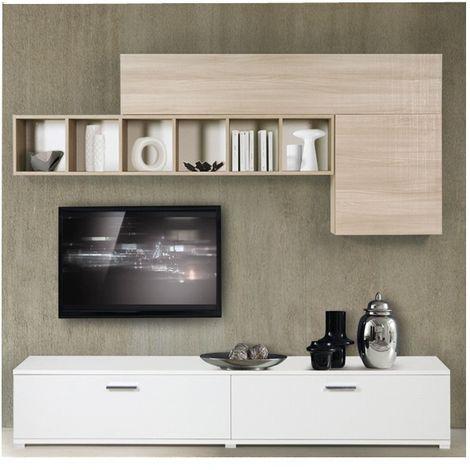 Parete attrezzata componibile Bianco e Olmo in legno nobilitato da L240