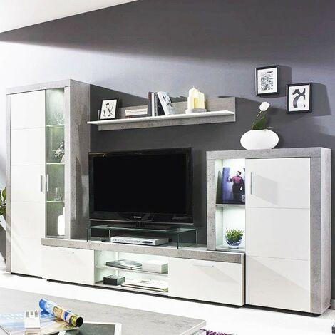 Parete attrezzata mobile soggiorno Grigio Bianco L.291xP41xh.197 cm