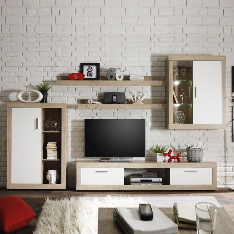 Parete attrezzata soggiorno Rovere Bianco L.293xP44xh.188 cm