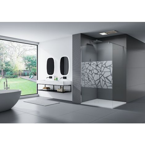 Parete doccia Walk In EX101 vetro temprato trasparente Larghezza Walk-In:1000mm 10mm larghezza selezionabile