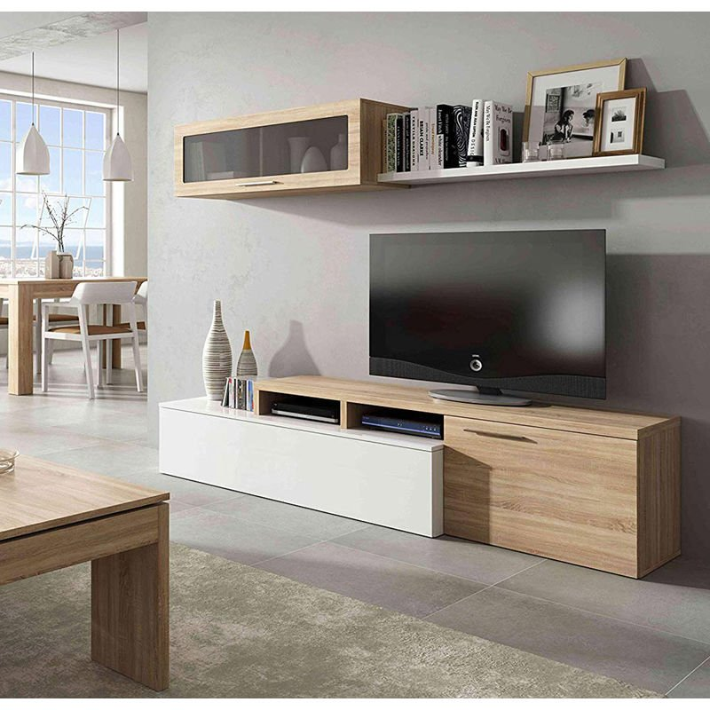 Parete Mobile TV Moderno 200 Rovere Bianco Attrezzata Soggiorno Pensile  Sospeso