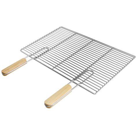 Parilla BBQ portátil acero inóxidable pórtatil 54x34cm manijas madera insertable