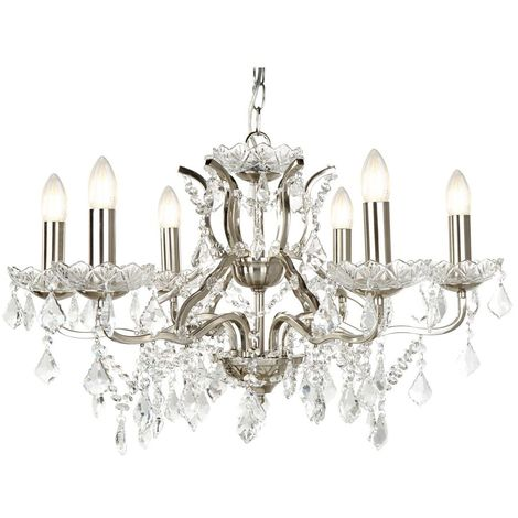 PARIS 6 LIGHT CHANDELIER, CLEAR CRYSTAL DROPS & TRIM, SATIN SILVER