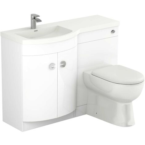 Paris Left Hand Curved 1100mm White Gloss Vanity Unit Toilet Suite