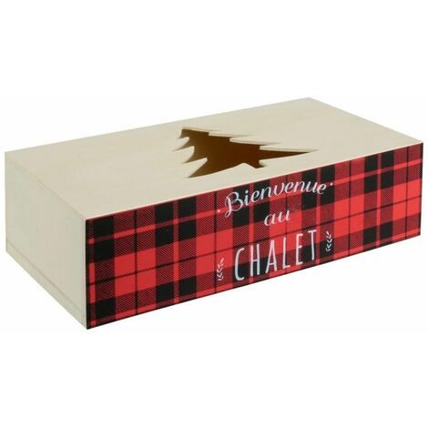 Paris Prix - Boîte à Mouchoirs En Bois chalet 27cm Rouge