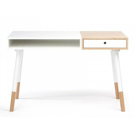 Paris Prix - Bureau Design sonnenblick 120cm Blanc & Chêne