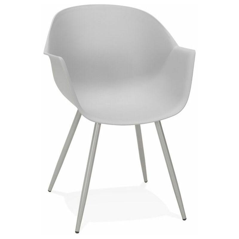 Paris Prix - Chaise Design Avec Accoudoirs sinco 85cm Gris