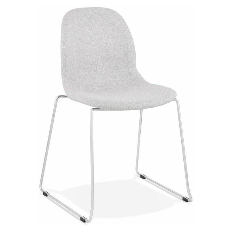 Chaise Design En Tissu sluna 85cm Gris & Chromé - Paris Prix