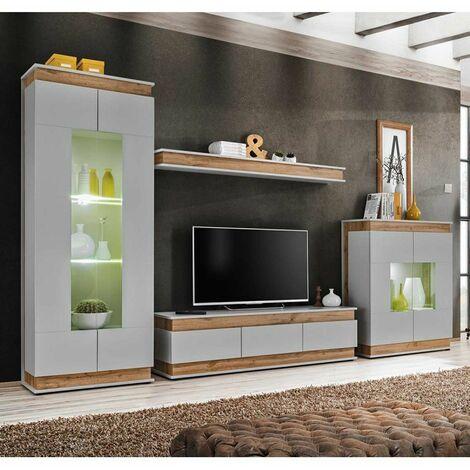 Paris Prix - Ensemble Meuble Tv berlin 330cm Gris & Naturel
