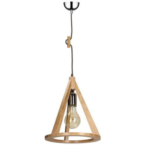 Paris Prix - Lampe Suspension Bois konan I 100cm Chêne Et Gris